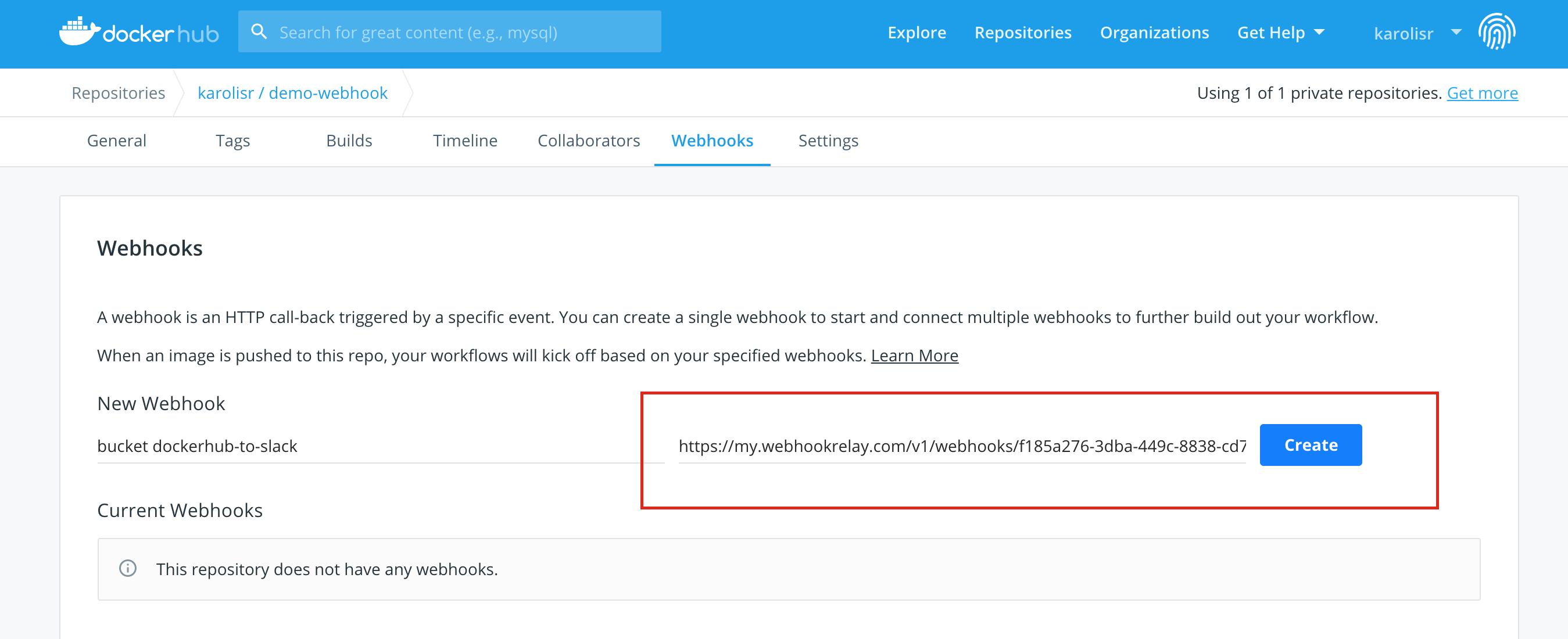 Dockerhub webhook config